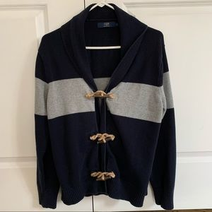 J.CREW Mens Sweater Cardigan Blue Gray Stripe